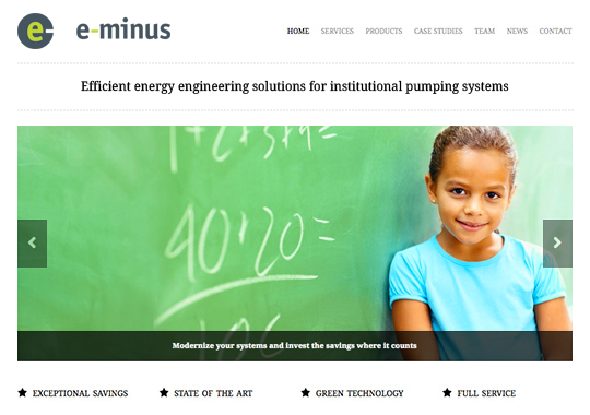 e-minus responsive website home page