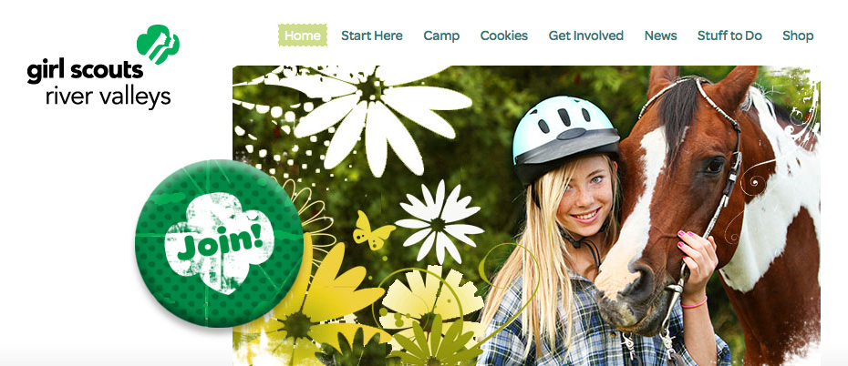 Girl Scouts River Valleys website home page detail