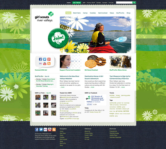 Girl Scouts River Valleys website home page