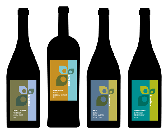 Live Oak School wine labels
