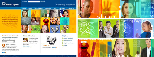 Merrill Lynch Philanthropy website home page view with banners