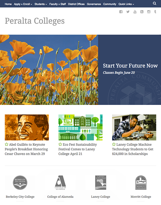 Peralta Colleges responsive website home page
