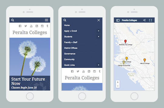 Peralta Colleges responsive website mobile view