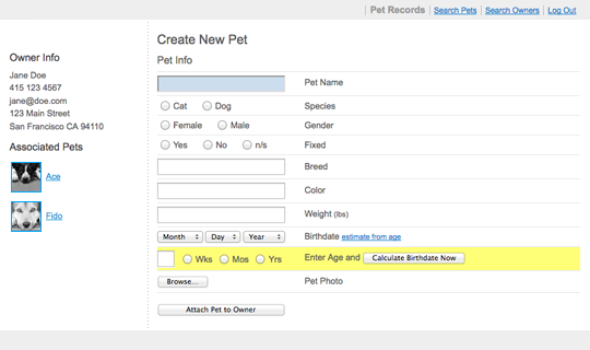 Pet Care wireframe screen view