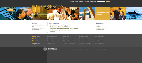 San Francisco State University main site home page with accessible navigation menu