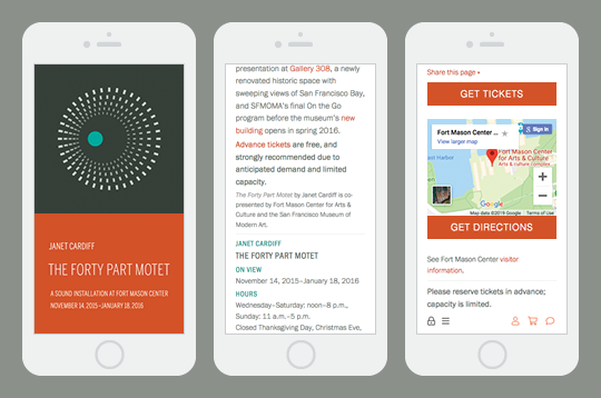 The Forty Part Motet responsive website site mobile view